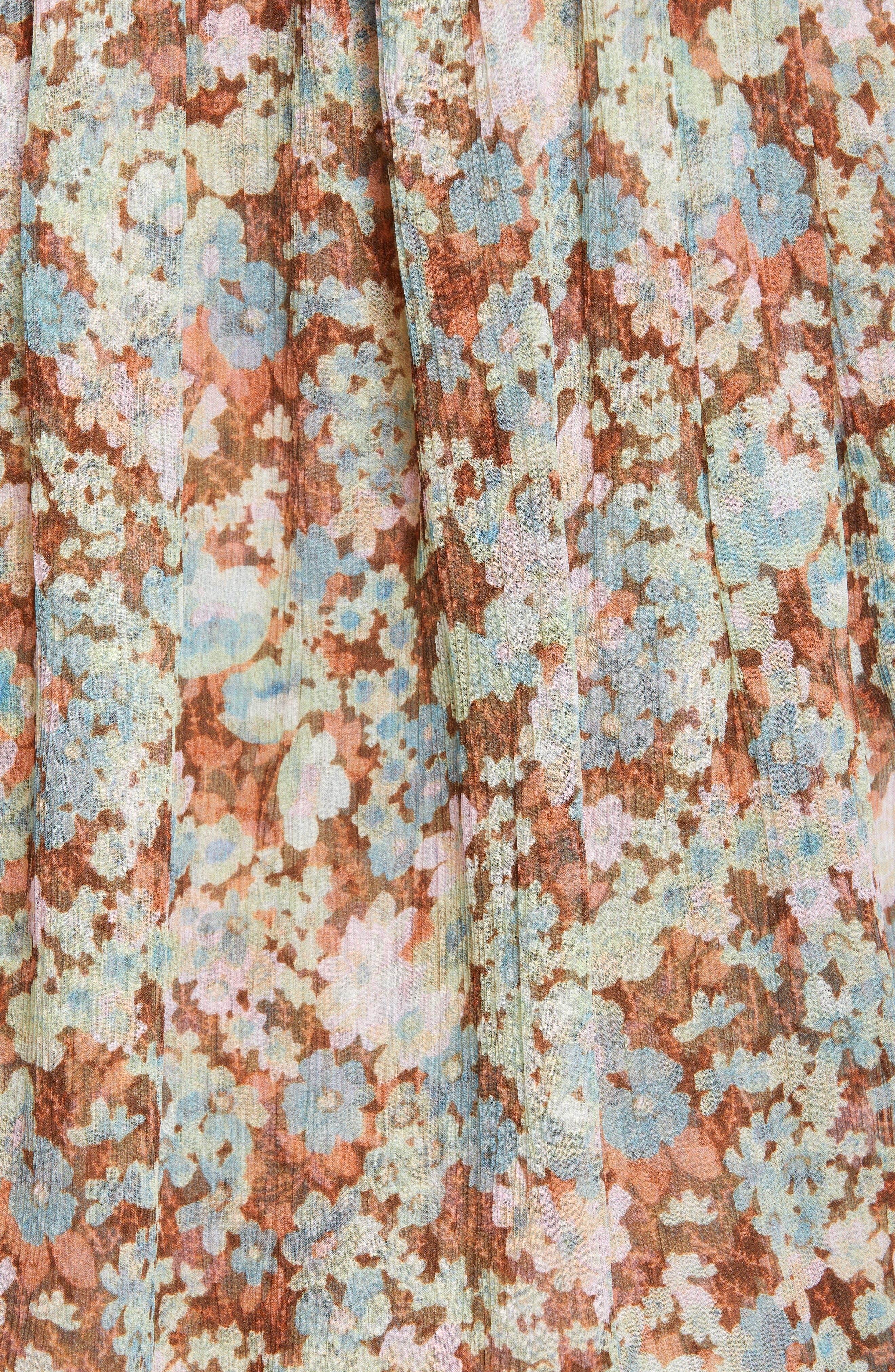 ,                             Meadow Floral Print Silk Dress,                             Alternate thumbnail 6, color,                             MULTICOLOUR