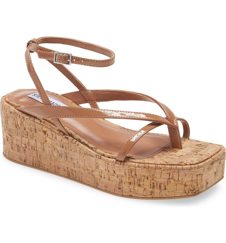STEVE MADDEN Nadeen Platform Wedge Sandal, Main, color, COGNAC MULTI