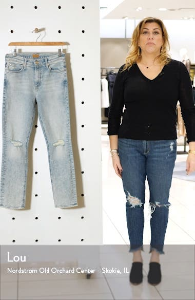 The Mid Rise Dazzler Ripped Ankle Straight Leg Jeans, sales video thumbnail