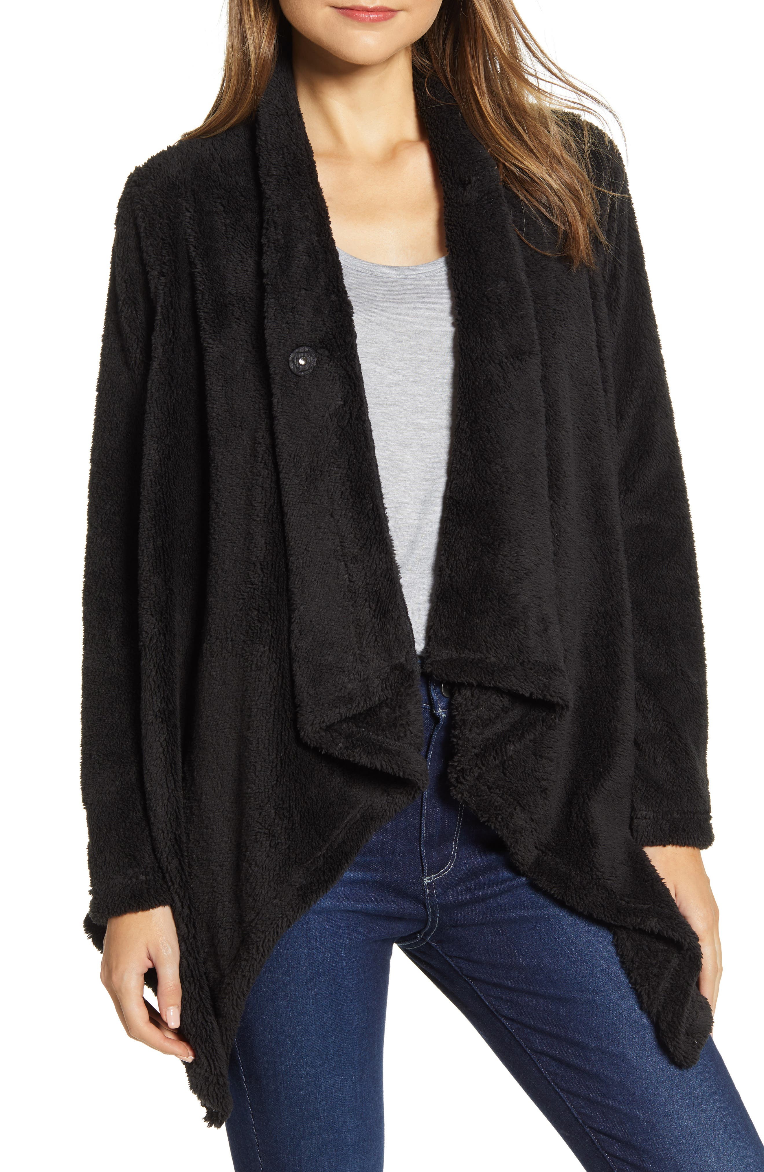 Another reason to celebrate the onset of sweater season, this favorite cardigan is back in a super-plush faux-fur. Wear it draped open or wrap and secure it with a single snap below the neck. Style Name: Bobeau Drape Front Faux Fur Cardigan. Style Number: 5916023. Available in stores.