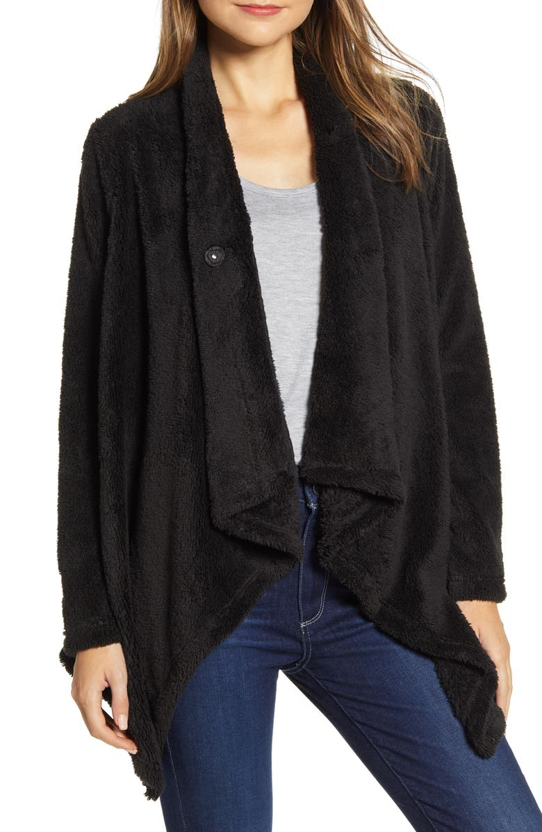 BOBEAU Drape Front Faux Fur Cardigan, Main, color, BLACK