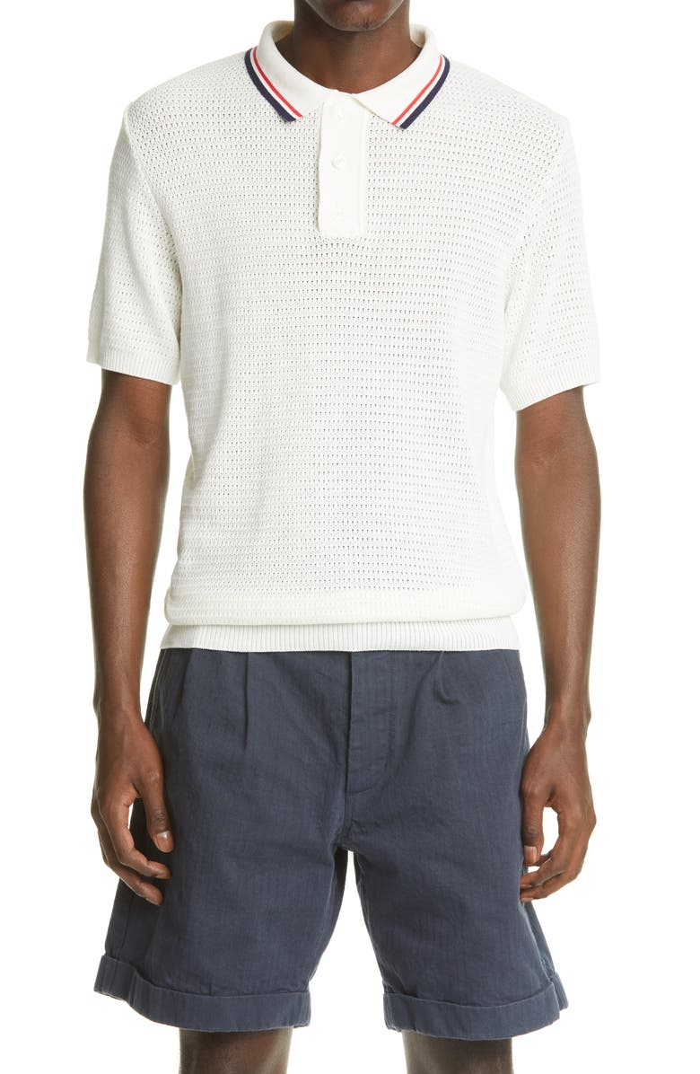 NOAH Tipped Short Sleeve Mesh Knit Polo, Main, color, MULTI