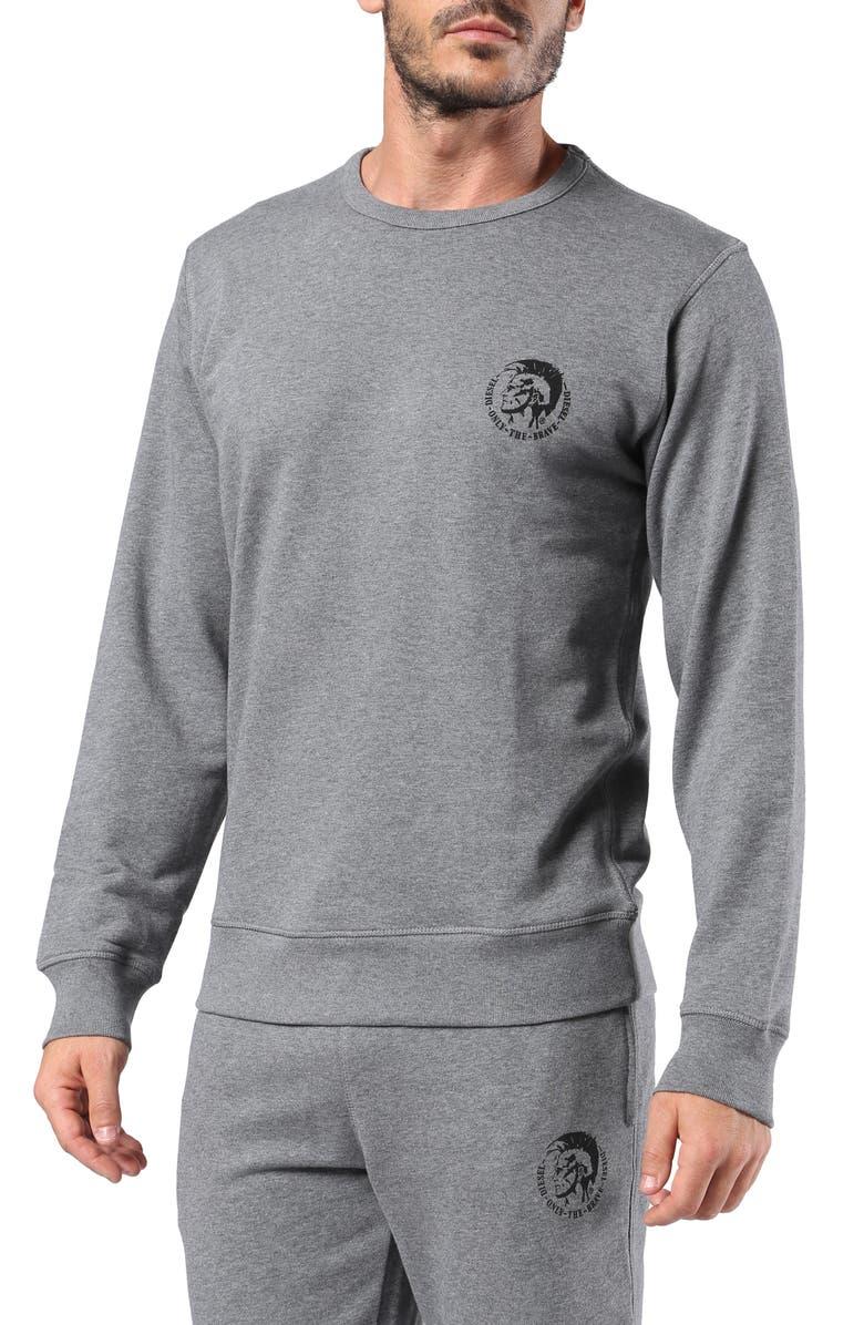 DIESEL<SUP>®</SUP> Willy Crewneck Sweatshirt, Main, color, MELANGE GREY