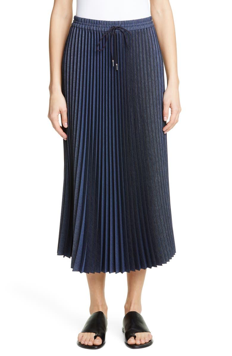 LAFAYETTE 148 NEW YORK Gwenda Pleated Denim Midi Skirt, Main, color, RETRO BLUE