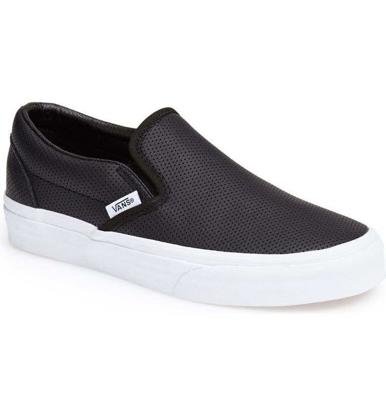 VANS Classic Slip-On Sneaker, Main, color, LEATHER BLACK
