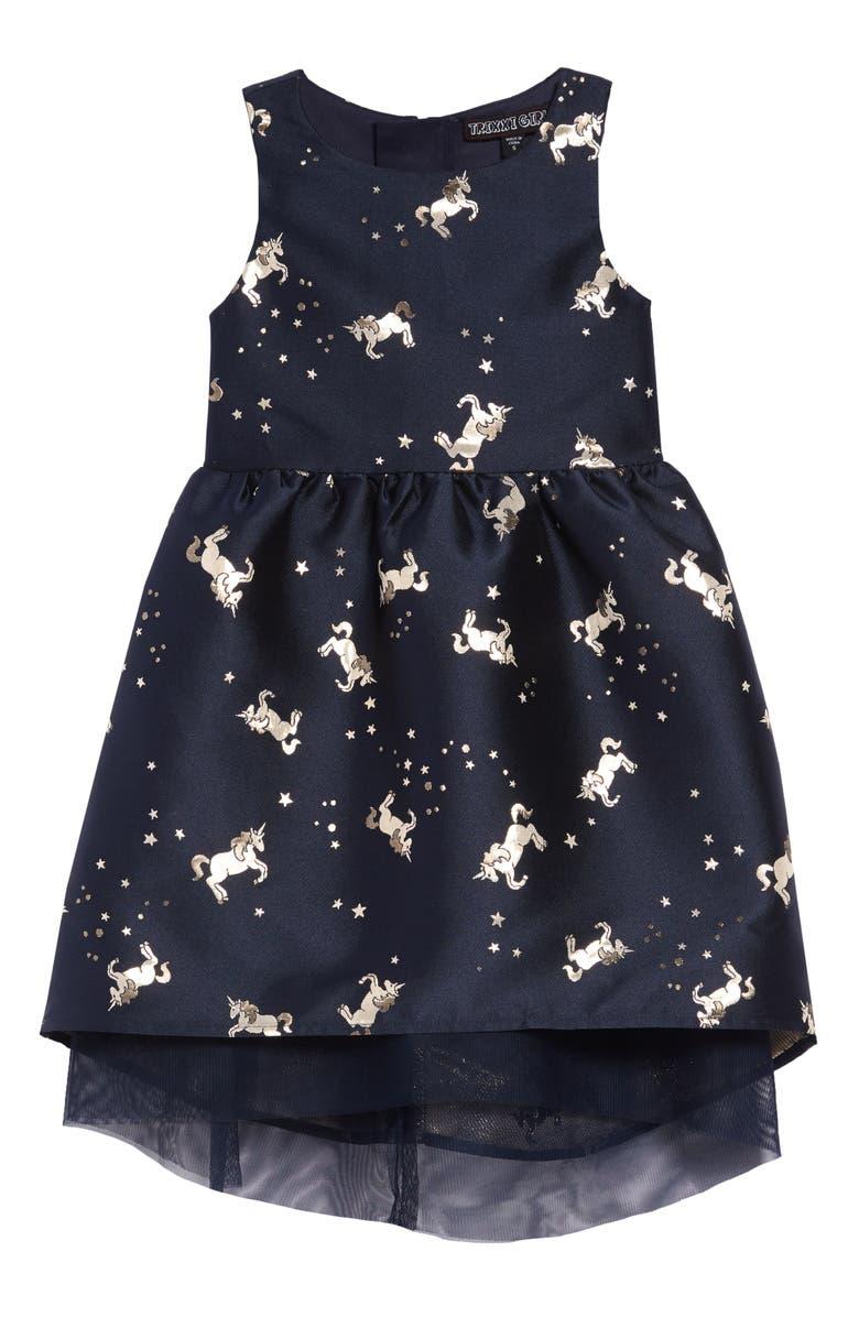 TRIXXI Jacquard Unicorn Party Dress, Main, color, BLUE