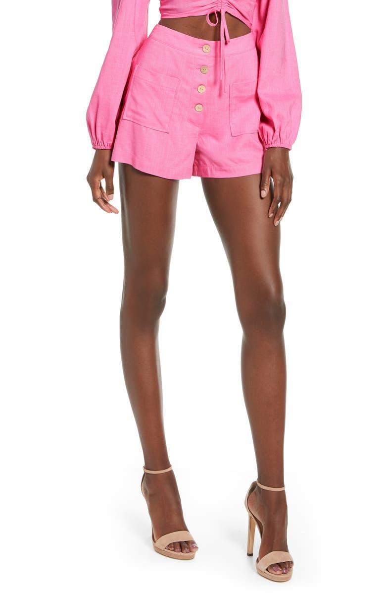 4SI3NNA Kacey Linen Blend Shorts, Main, color, PINK