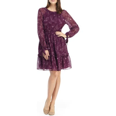 Gal Meets Glam Collection Primrose Floral Long Sleeve Fit & Flare Chiffon Dress, Burgundy
