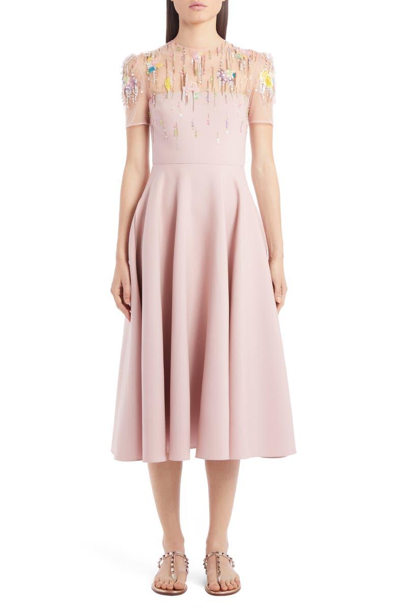 VALENTINO Embellished Illusion Yoke Wool & Silk Midi Dress, Main, color, SOFT PINK