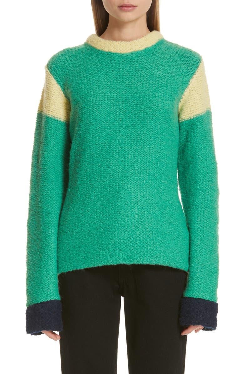 ECKHAUS LATTA Kermit Colorblock Sweater, Main, color, 300