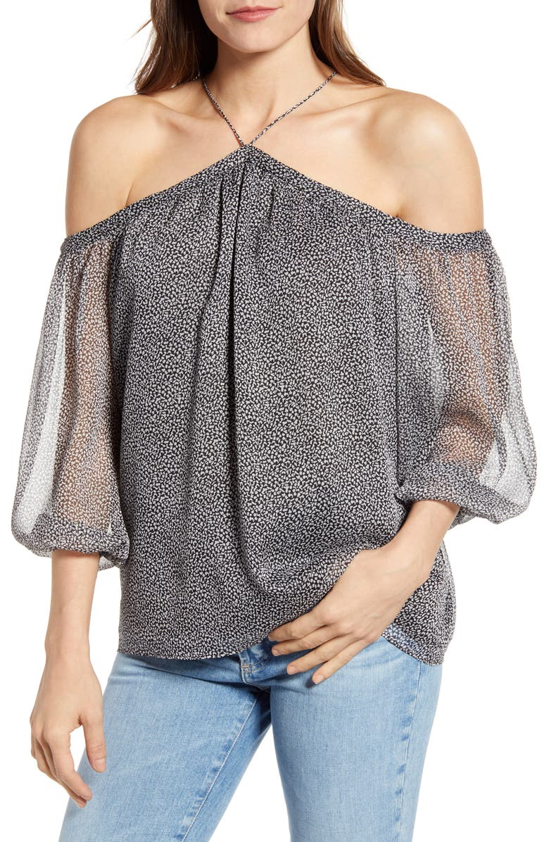 1.STATE Off the Shoulder Sheer Chiffon Blouse, Main, color, BLACK/ SOFT ECRU