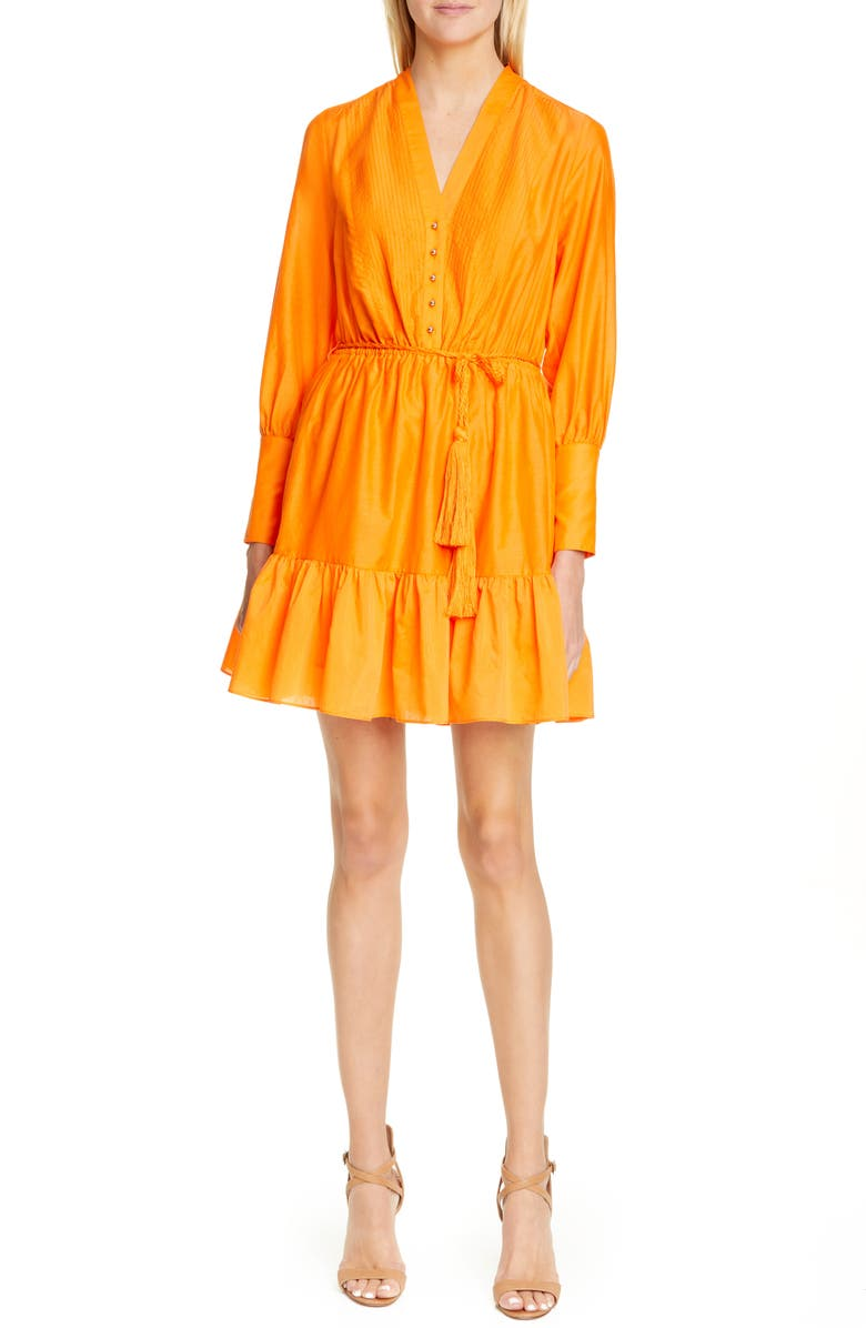 ROBERT RODRIGUEZ Long Sleeve Cotton & Silk Dress, Main, color, 840