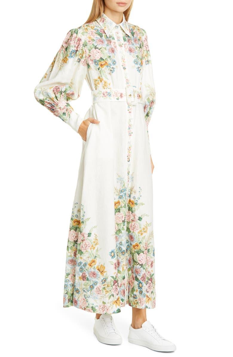 ZIMMERMANN Wavelength Floral Long Sleeve Linen Maxi Dress, Main, color, 900