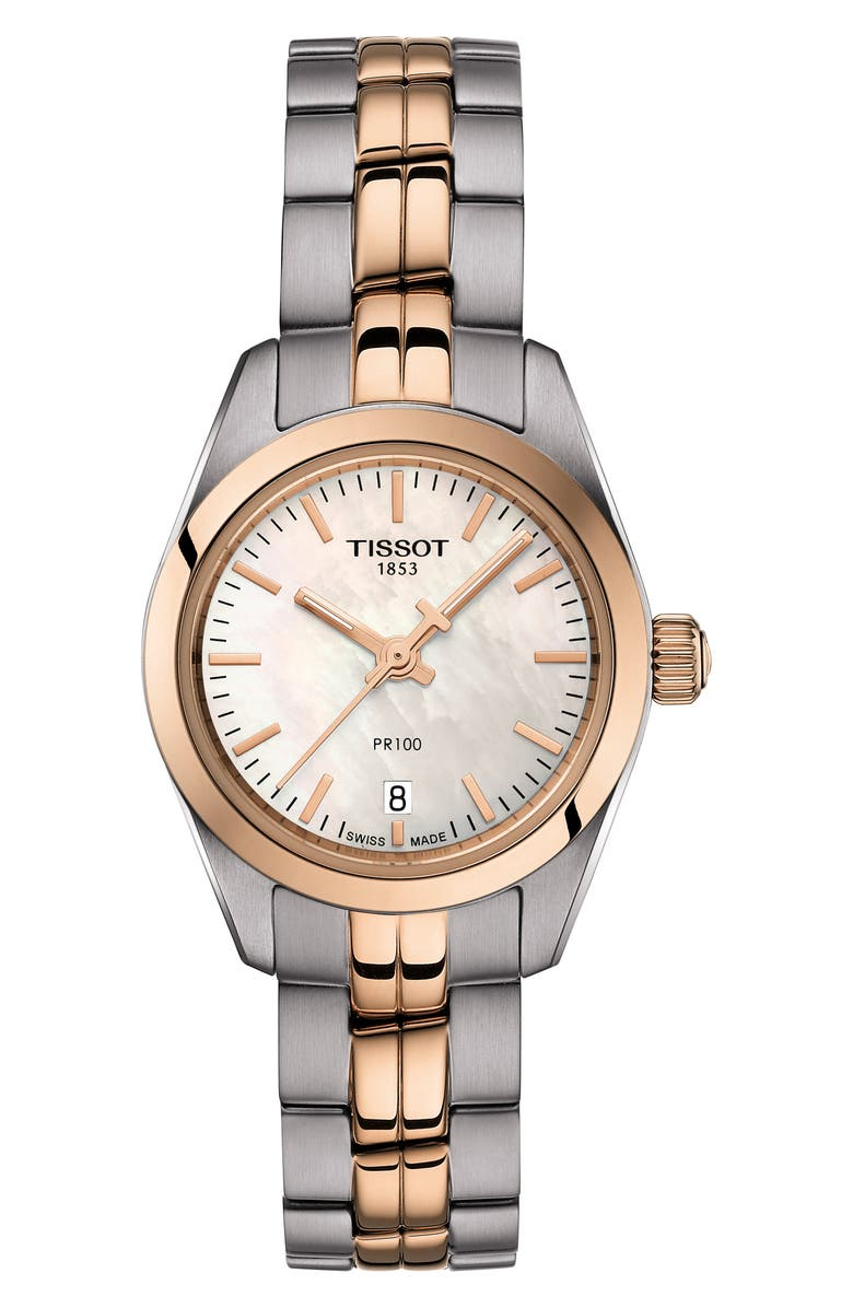 TISSOT PR 100 Lady Small Bracelet Watch, 25mm, Main, color, GREY/ ROSE GOLD