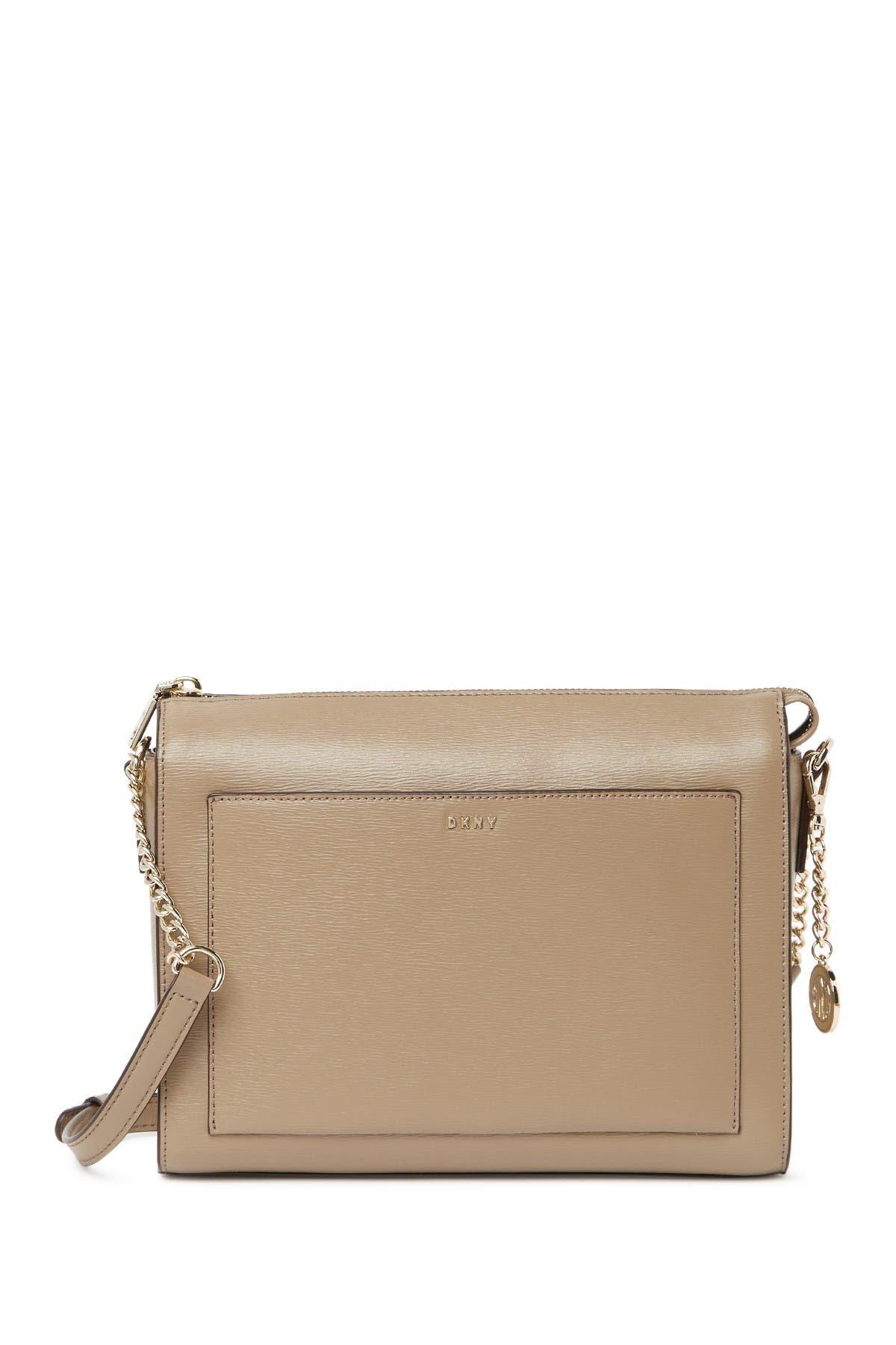 Image of DKNY Bryant Leather Medium Box Crossbody Bag