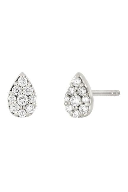 Image of Bony Levy 18K White Gold Pave Diamond Teardrop Stud Earrings - 0.14 ctw