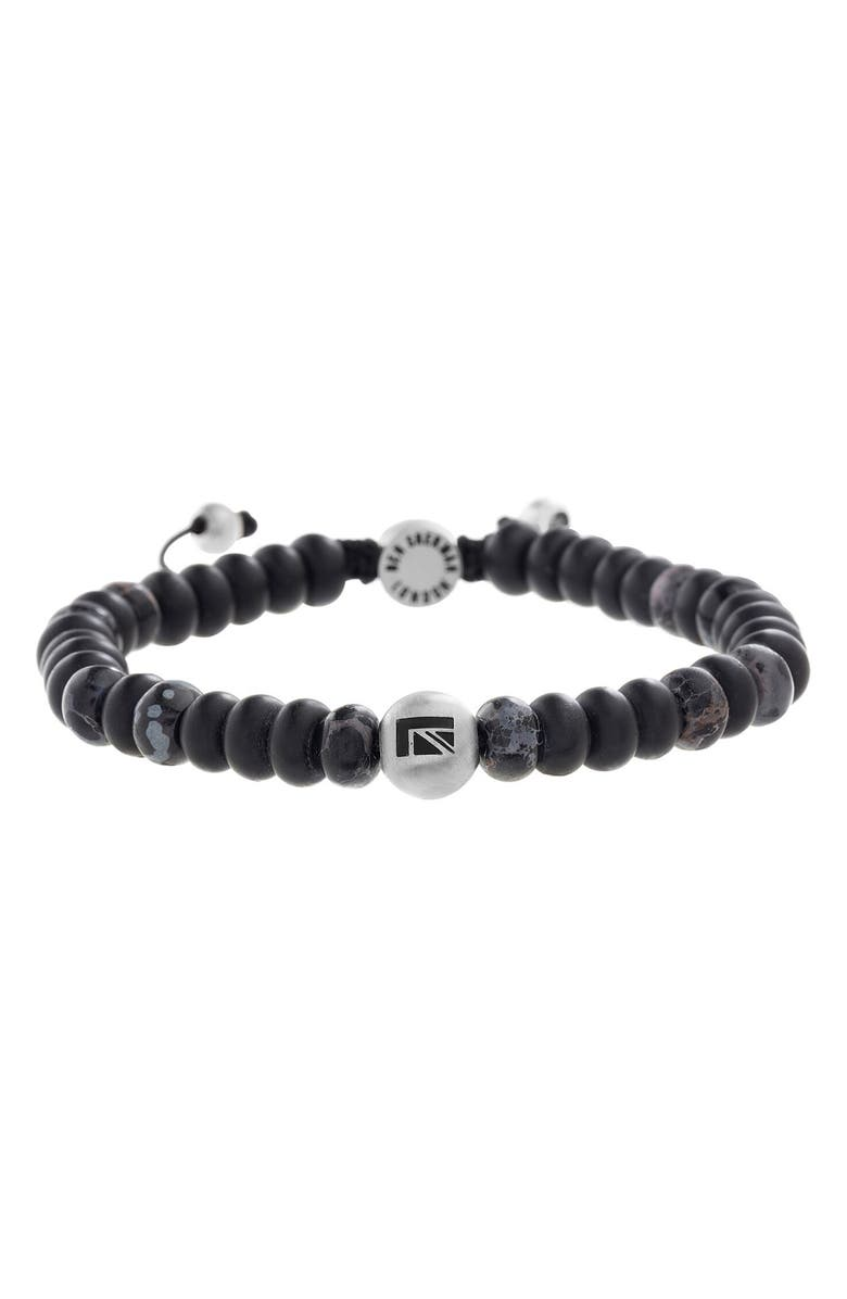 BEN SHERMAN Stone Bead Bracelet, Main, color, BLACK