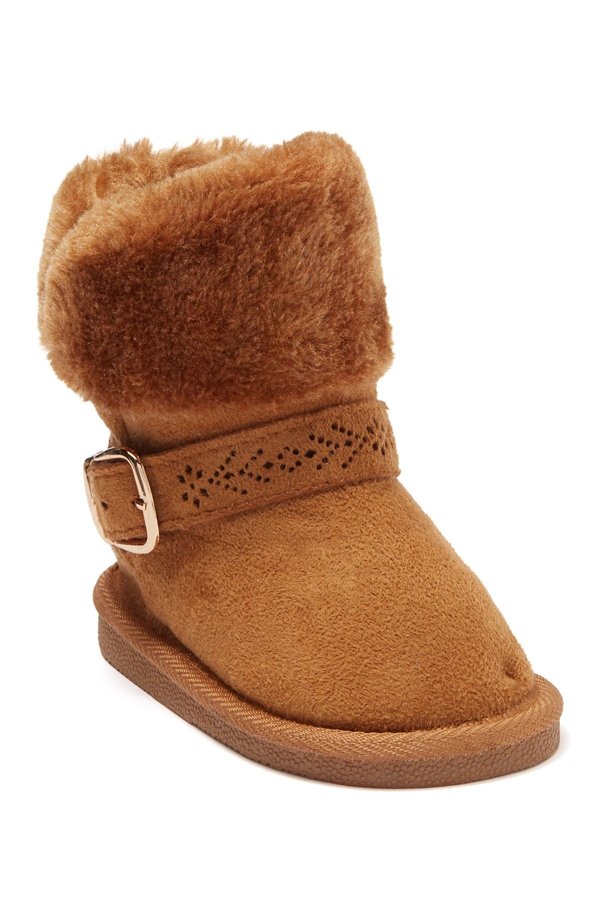 Image of bebe Faux Fur Lined Buckle Accent Winter Boot