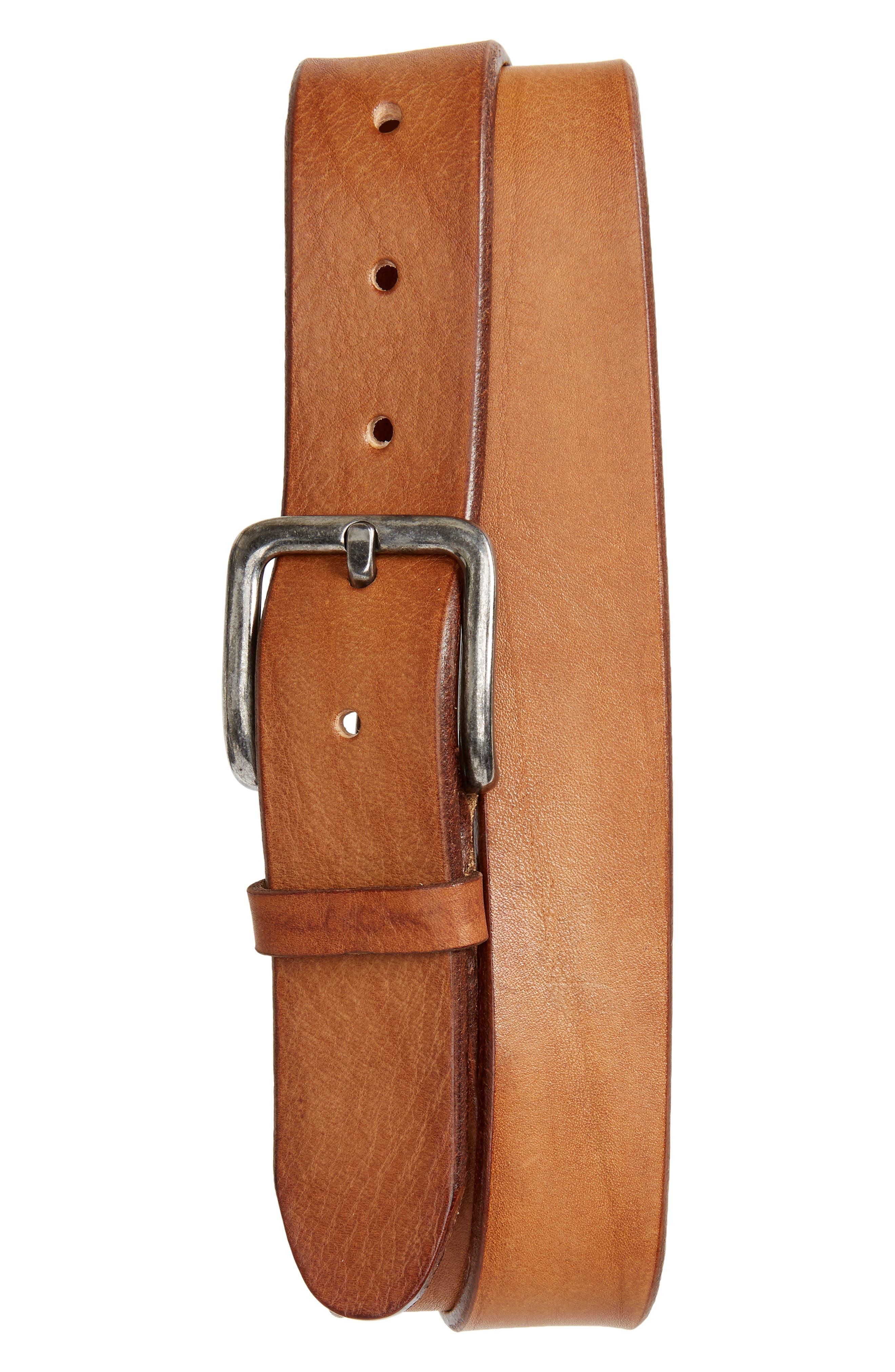 Orris Tumbled Leather Belt, Main, color, COGNAC