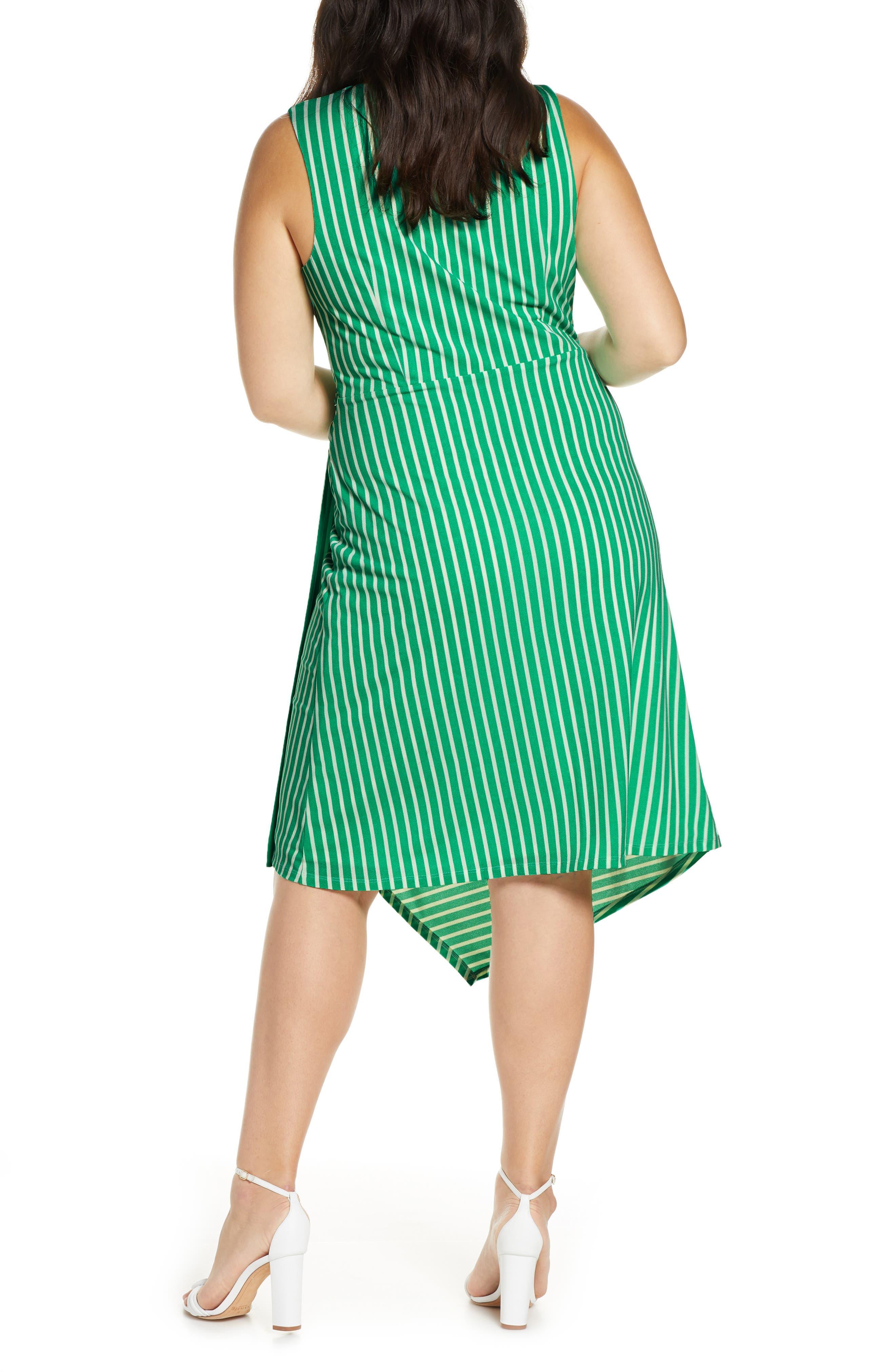 ,                             Wrap Midi Dress,                             Alternate thumbnail 5, color,                             JADE-WHITE STRIPE
