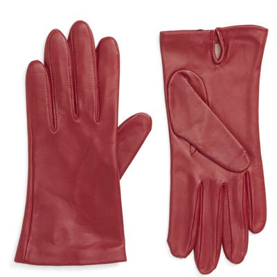 Nordstrom Lambskin Leather Gloves, Red
