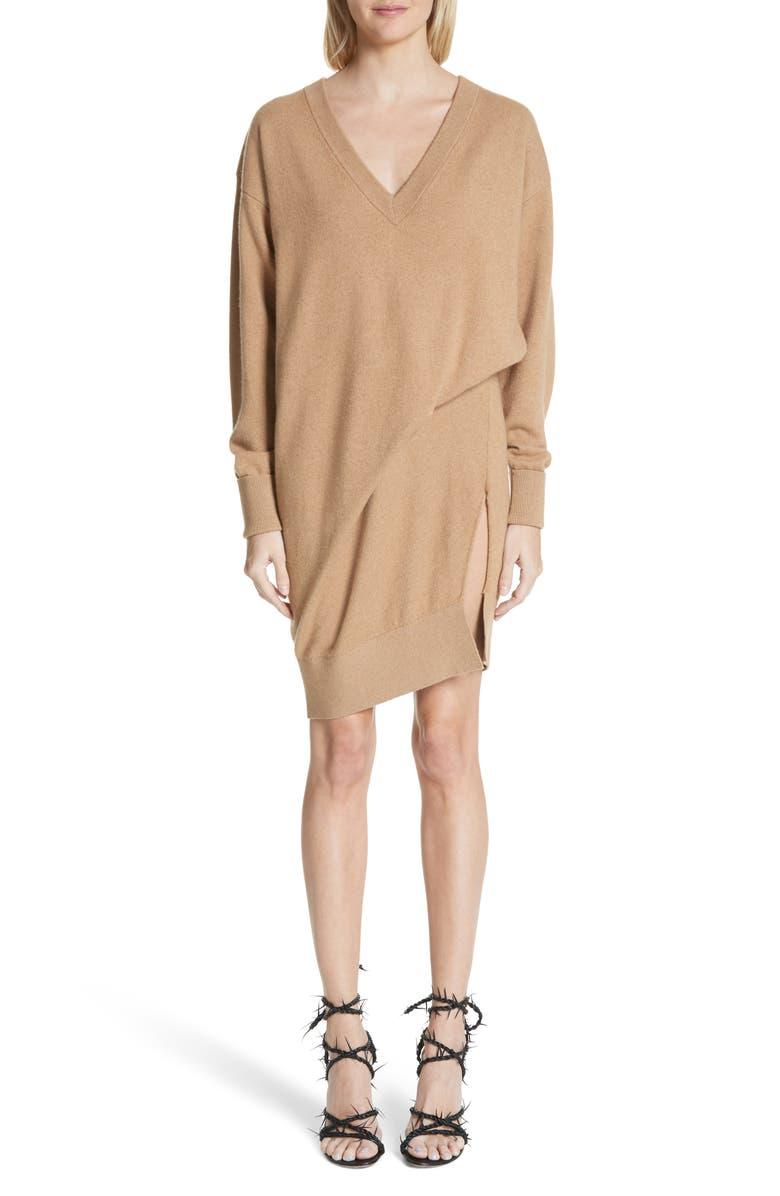ALEXANDER WANG Asymmetrical Wool & Cashmere Blend Sweater Dress, Main, color, 204