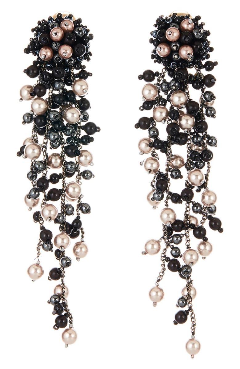 OSCAR DE LA RENTA Flower Chain Shoulder Duster Clip Earrings, Main, color, NAVY