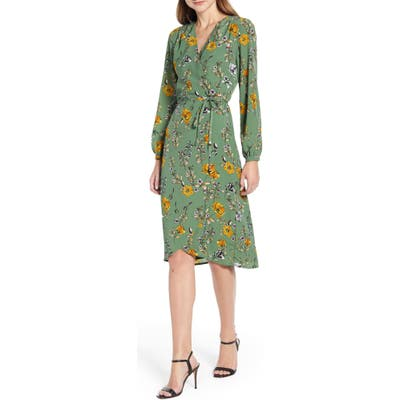 Cupcakes And Cashmere Floral Wrap Dress, Green