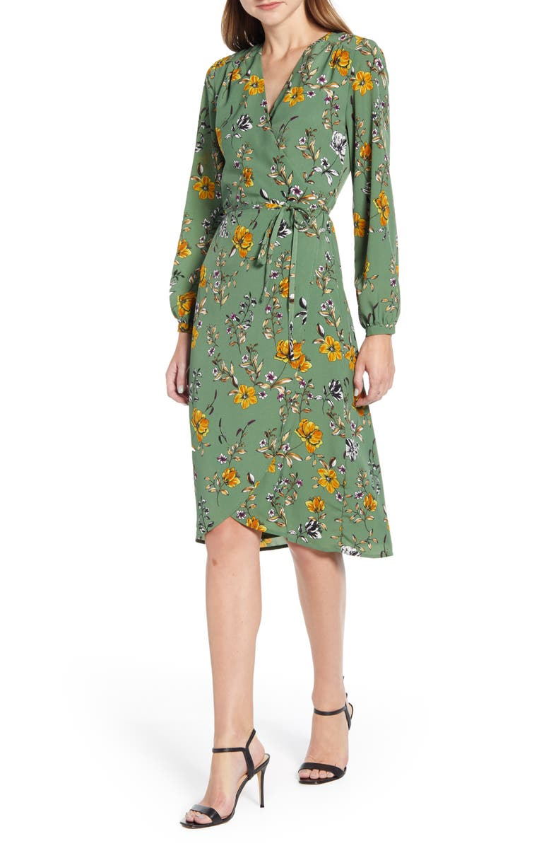 CUPCAKES AND CASHMERE Floral Wrap Dress, Main, color, THYME GREEN