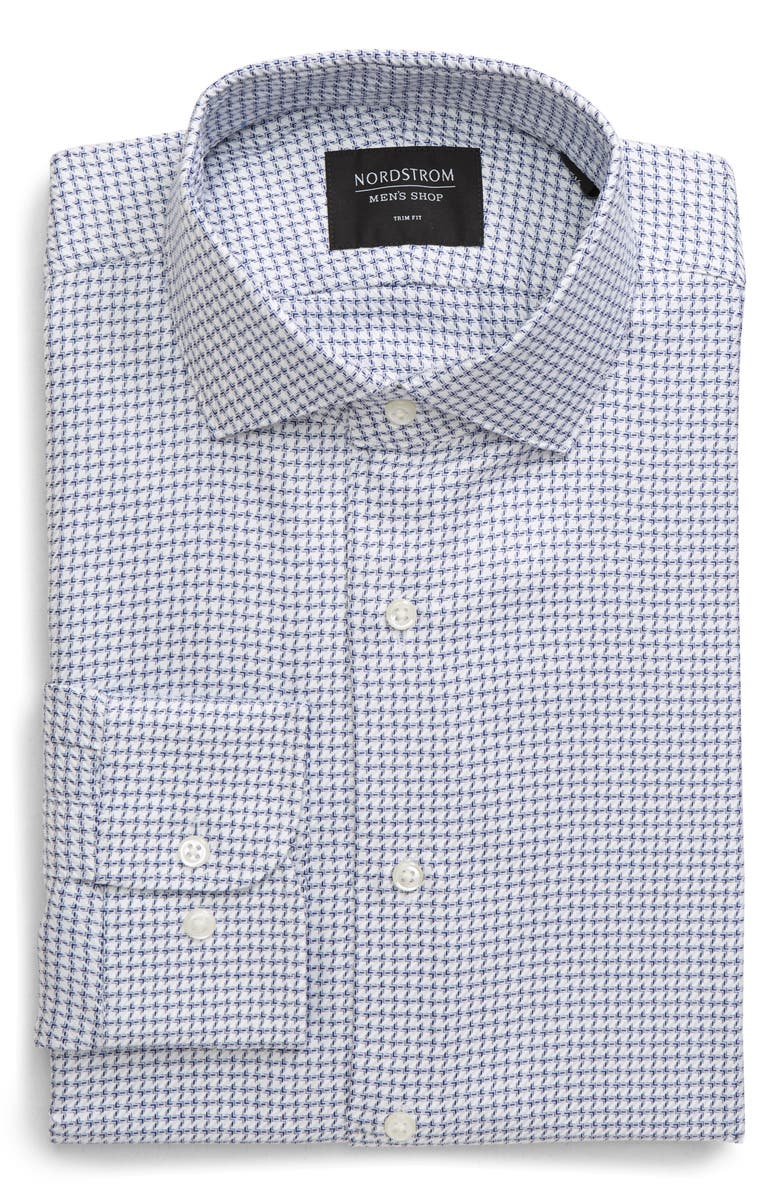 NORDSTROM MEN'S SHOP Trim Fit Houndstooth Dress Shirt, Main, color, BLUE TWILIGHT