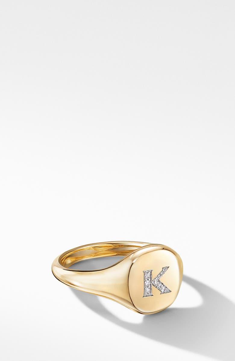 DAVID YURMAN Initial Pinky Ring in 18K Yellow Gold with Diamonds, Main, color, 700