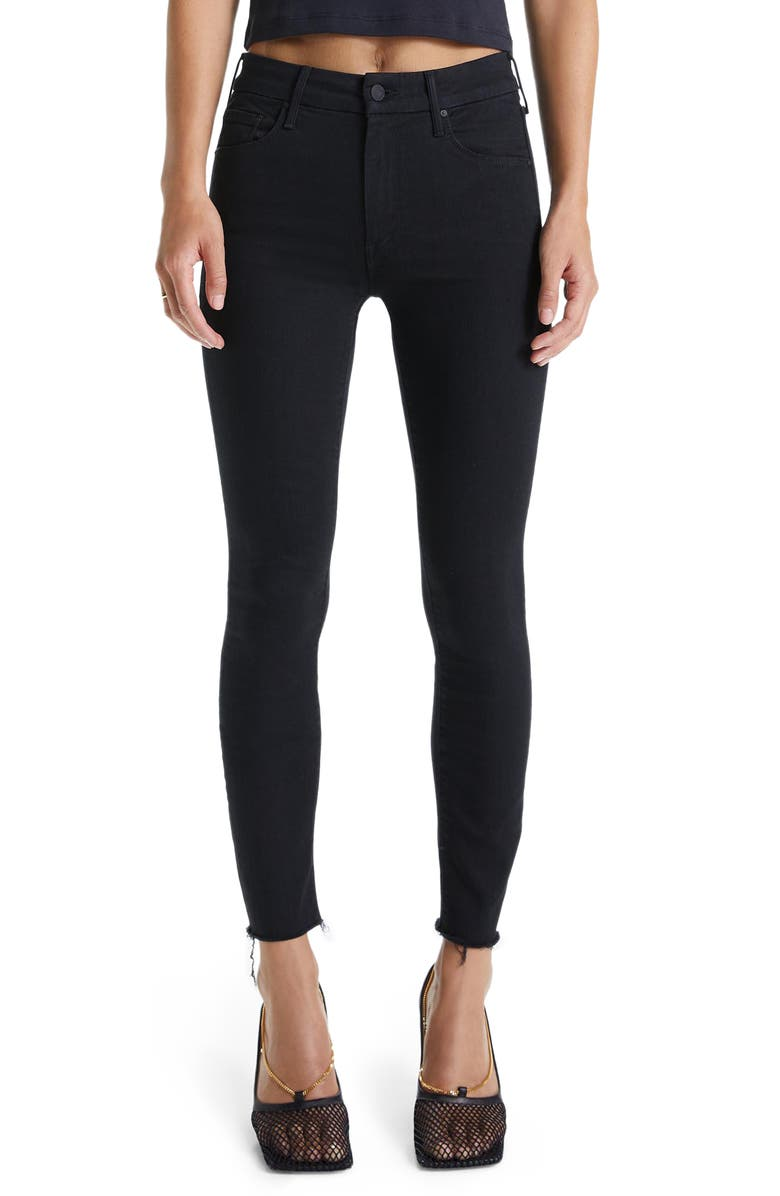 MOTHER 'The Looker' Frayed Ankle Skinny Jeans, Main, color, NOT GUILTY