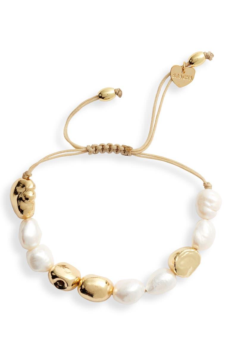 BRACHA Paradise Pearl Slider Bracelet, Main, color, GOLD / PEARL