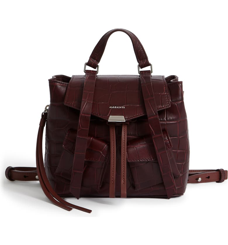 ALLSAINTS Polly Mini Leather Backpack, Main, color, 600