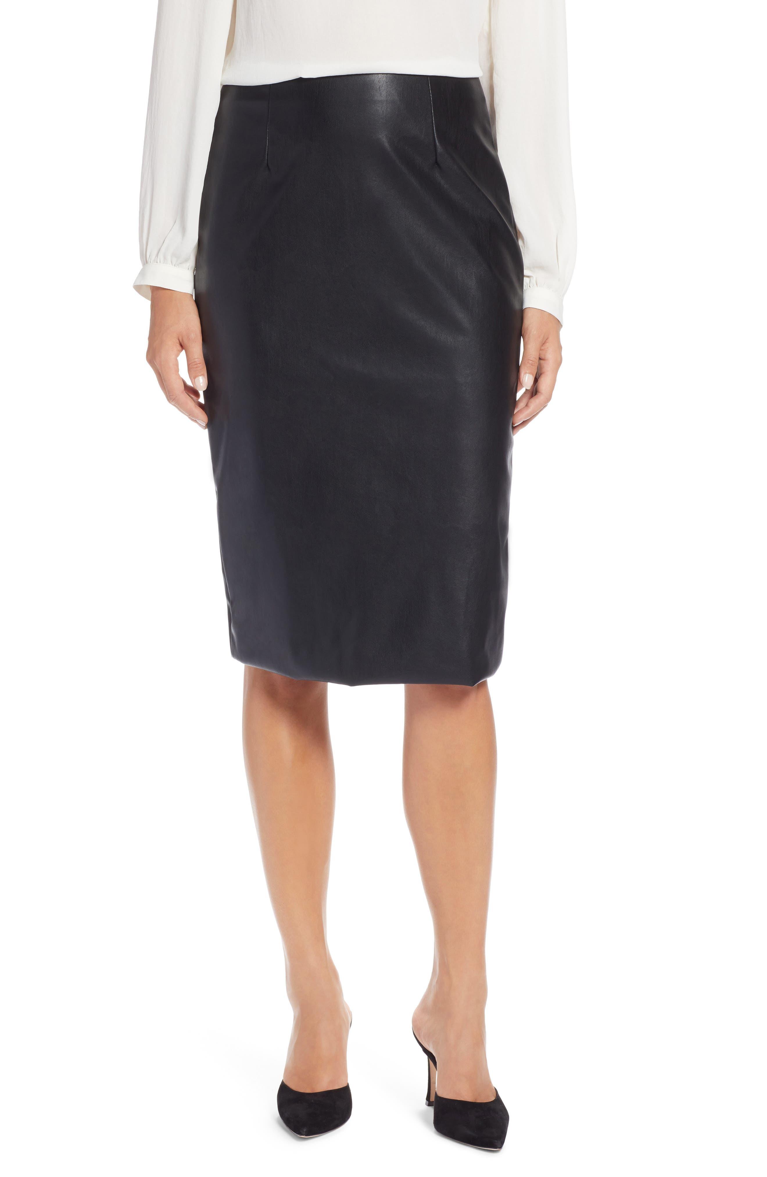 Halogen® Faux Leather Pencil Skirt (Regular & Petite)