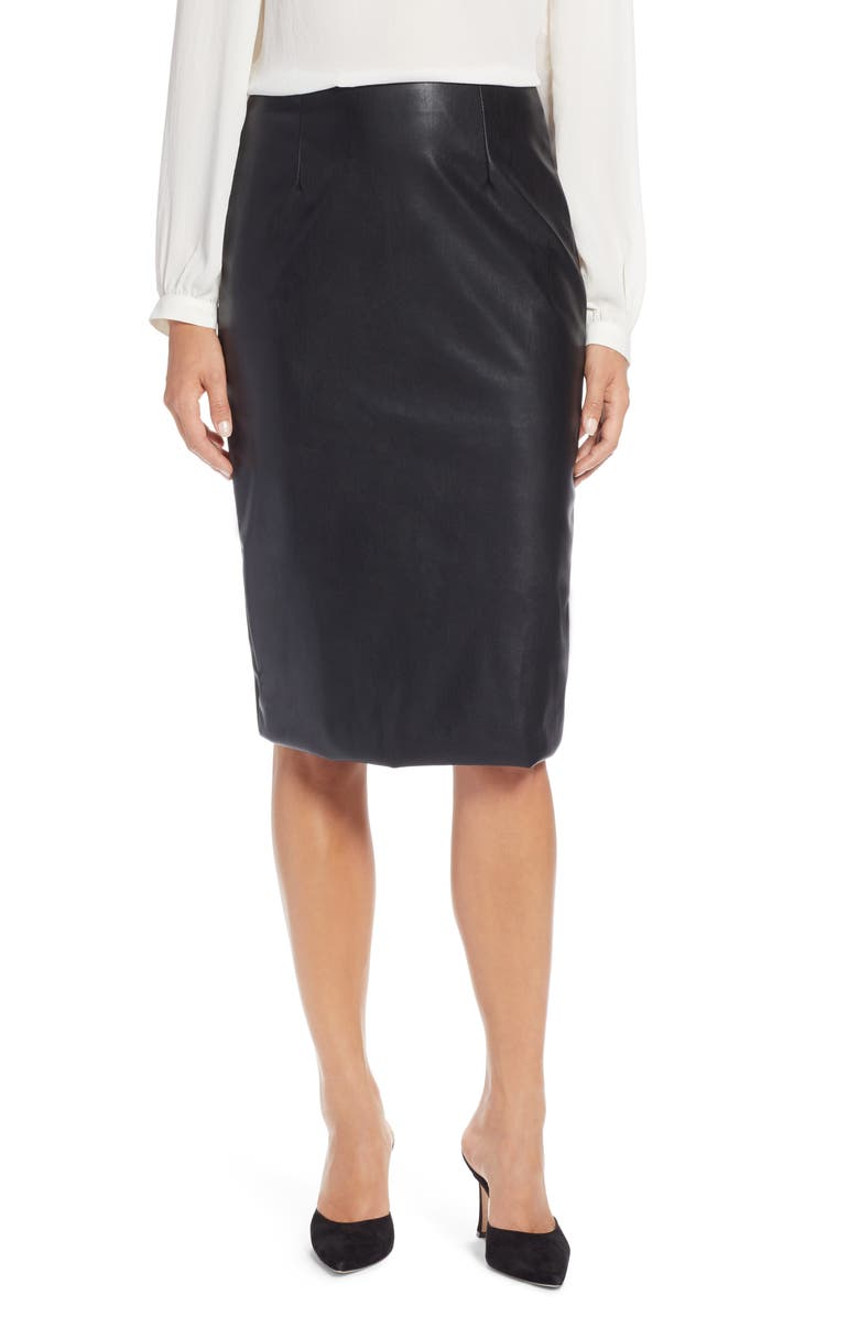HALOGEN<SUP>®</SUP> Faux Leather Pencil Skirt, Main, color, 001