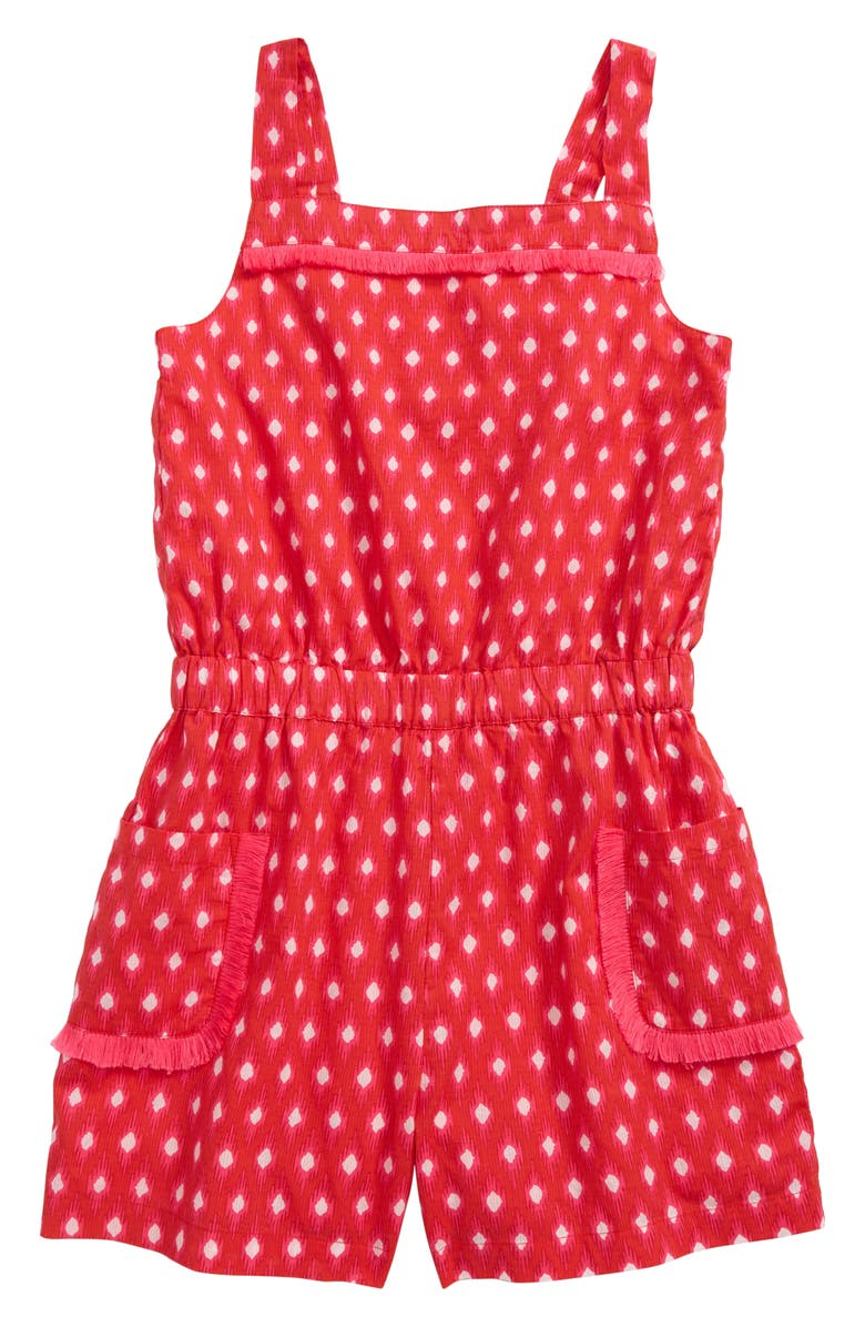 MINI BODEN Print Woven Romper, Main, color, RED STRAWBERRY RED IKAT