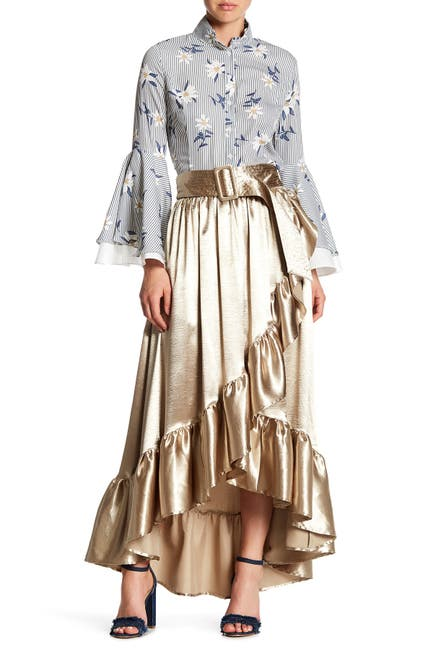 Image of TOV Asymmetrical Sateen Wrap Ruffle Skirt