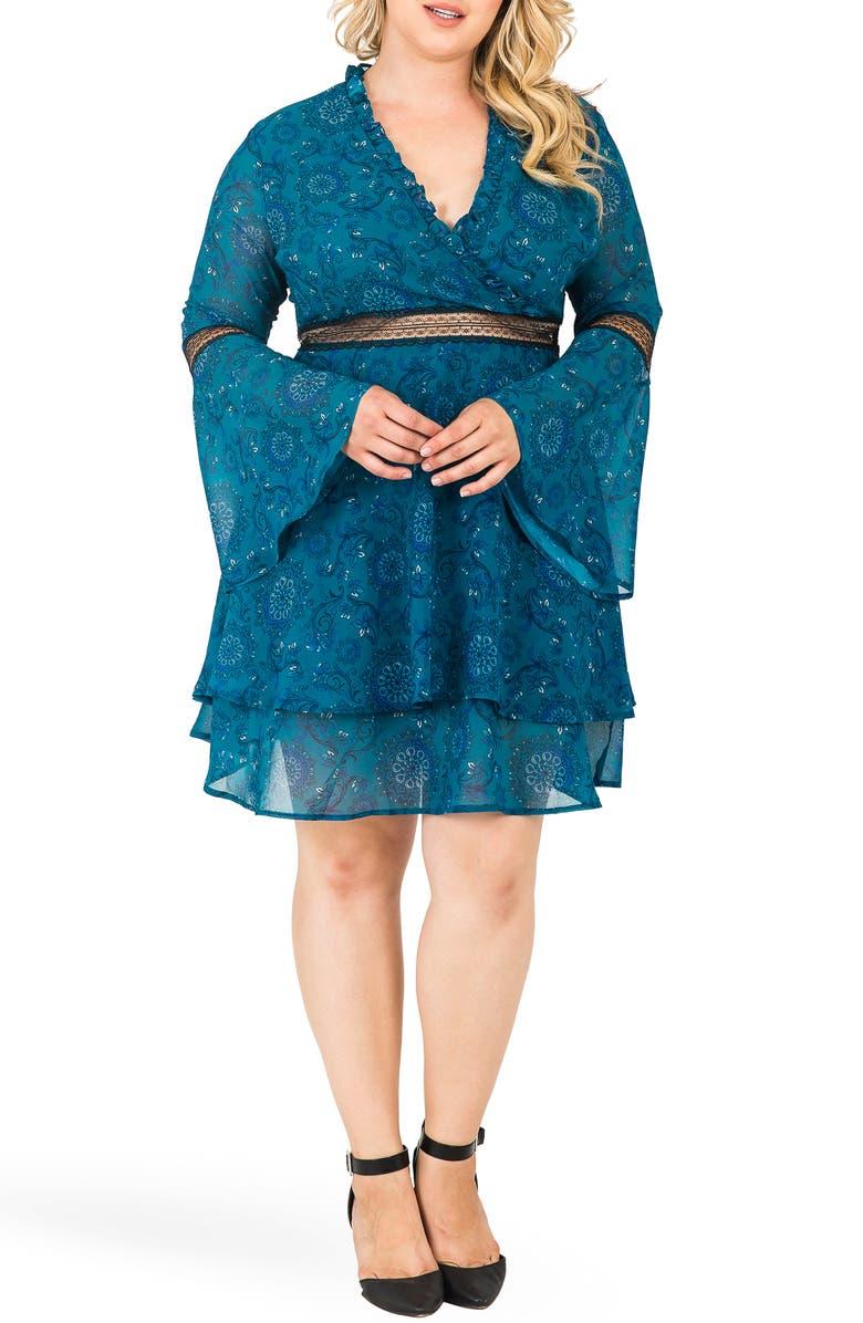 STANDARDS & PRACTICES Etsy Floral Print Fit & Flare Dress, Main, color, TEAL