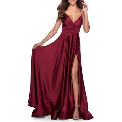 La Femme Satin Empire Waist Sleeveless Gown, Burgundy