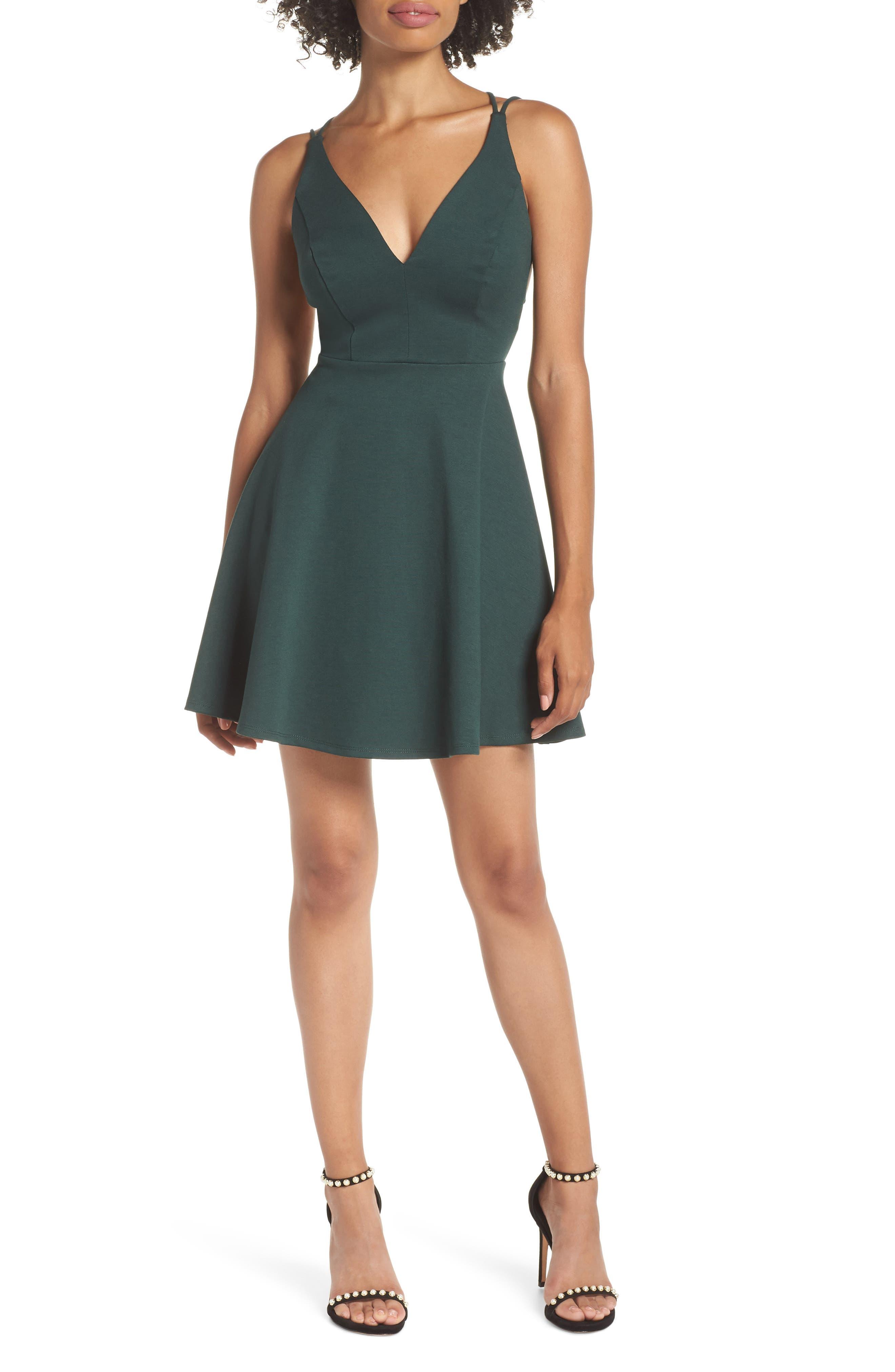 Lulus Believe In Love Strappy Back Skater Dress, Green