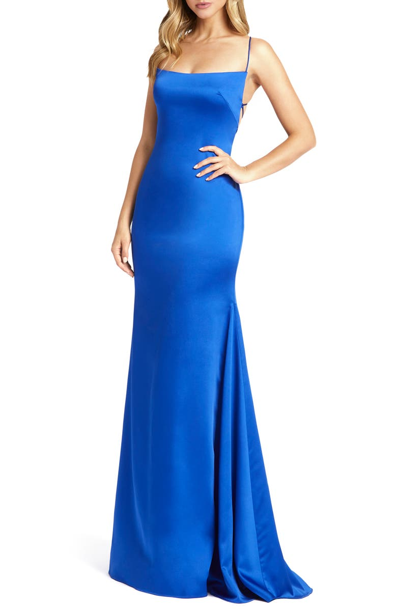 MAC DUGGAL Strappy Satin Column Gown, Main, color, ROYAL
