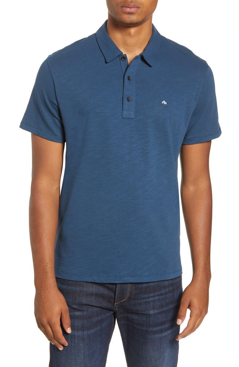 RAG & BONE Slub Cotton Slim Fit Polo, Main, color, ANTIQUE BLUE