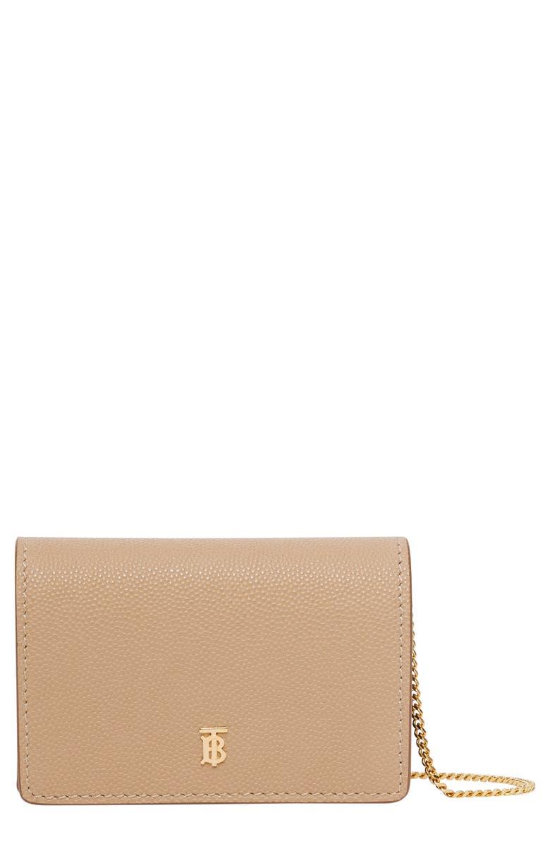 BURBERRY Jessie TB Monogram Leather Card Case, Main, color, ARCHIVE BEIGE
