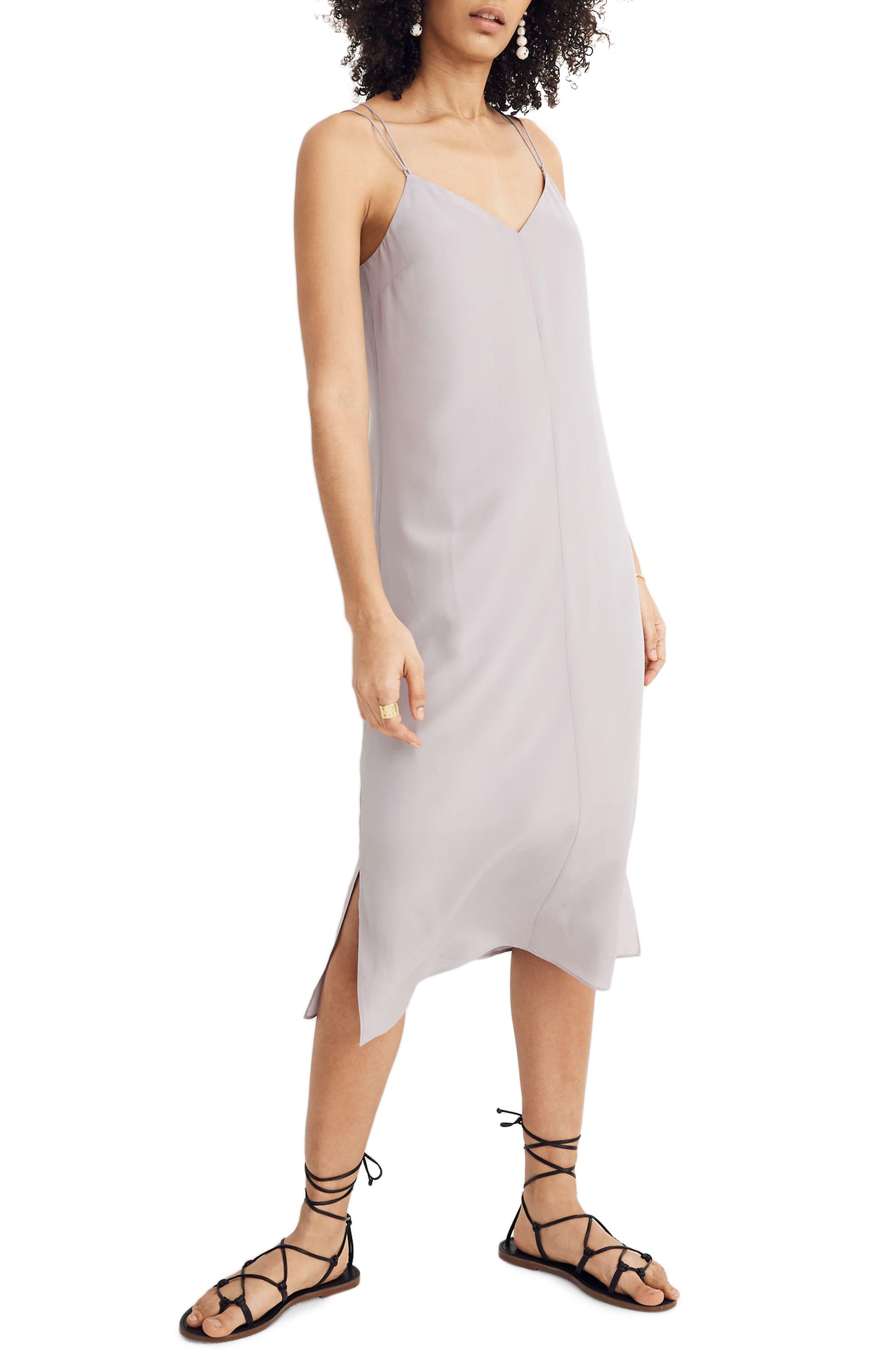Madewell Cross Back Cami Silk Slipdress, Purple