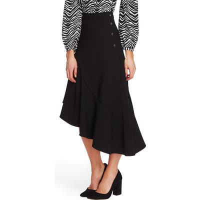Vince Camuto Side Button Asymmetrical Stretch Crepe Skirt, Black