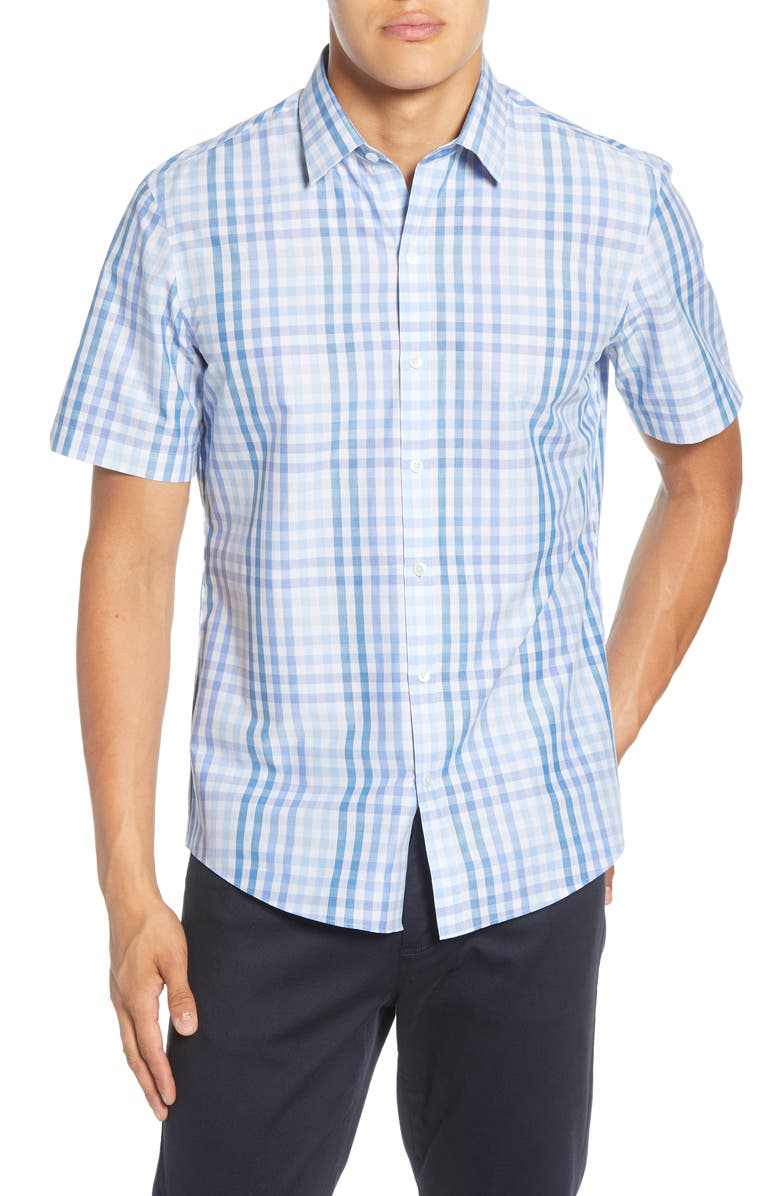 ZACHARY PRELL Weaver Regular Fit Check Short Sleeve Button-Up Shirt, Main, color, BLUE