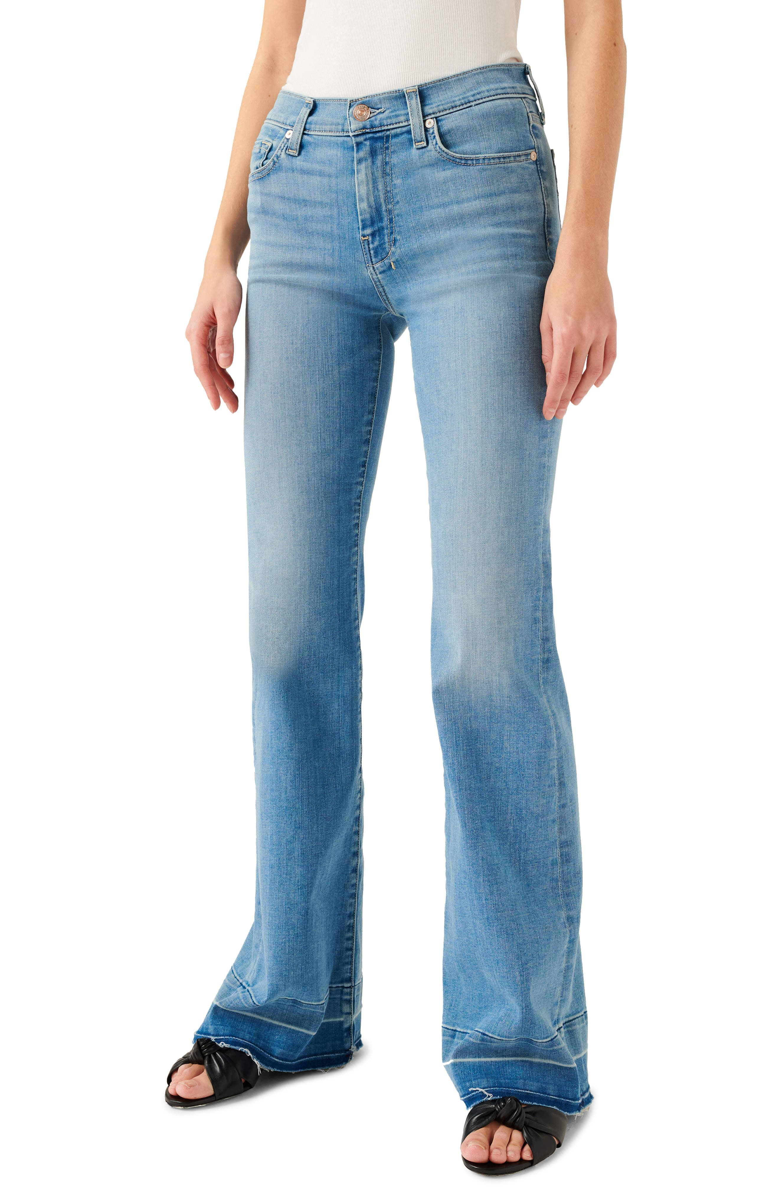 Women's 7 For All Mankind Released Fray Hem Dojo Wide Leg Jeans