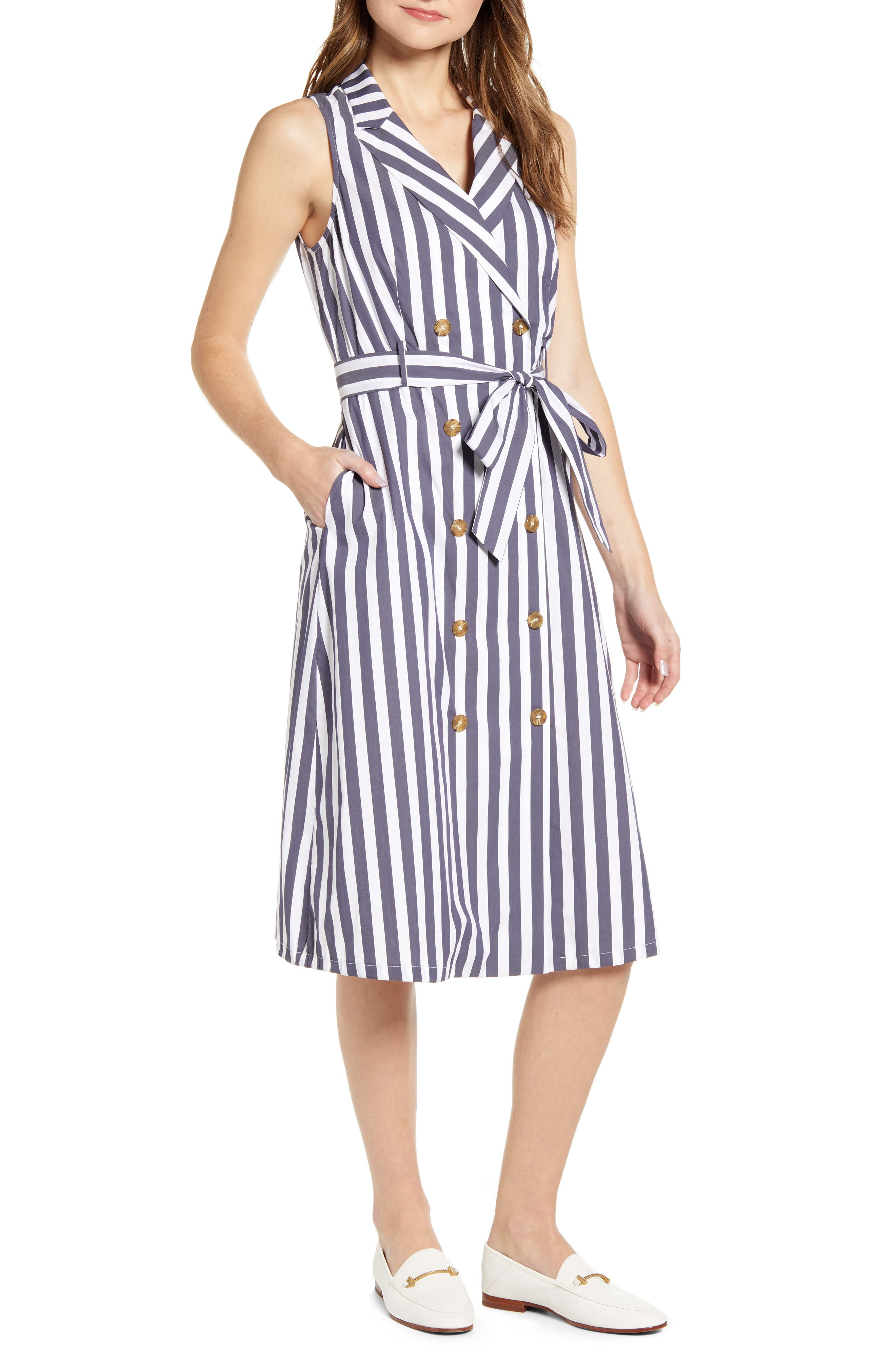 Vintage Shirtwaist Dress History Womens Court  Rowe Tie Waist Sleeveless Cotton Blend Shirtdress $89.40 AT vintagedancer.com