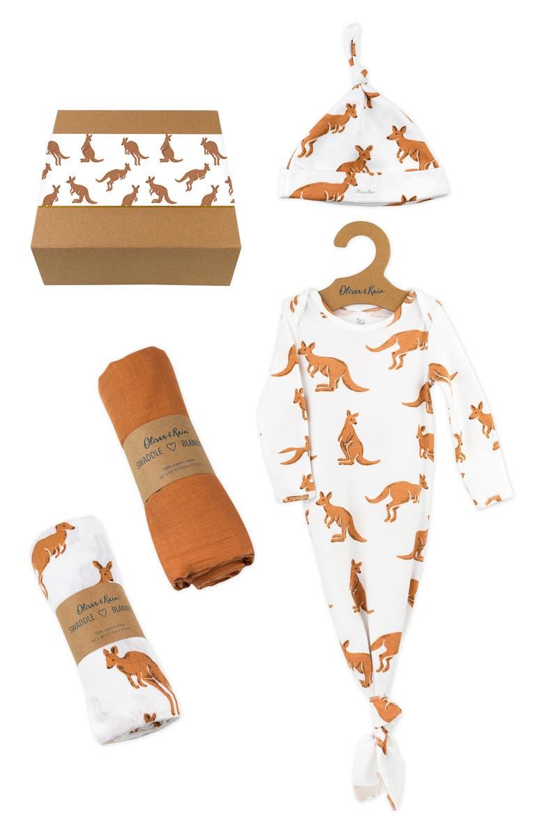 OLIVER & RAIN Kangaroo Gown, Hat & Swaddles Gift Set, Main, color, 200